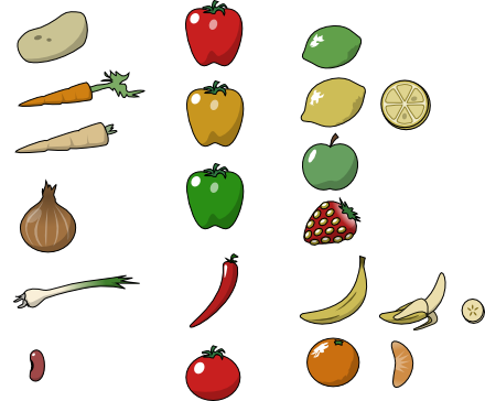 last night and ended up doodling some clip art of some fruit and veg.